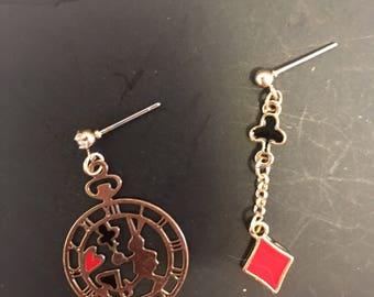 Gold Alice in wonderland rabbit & card heart stud earrings