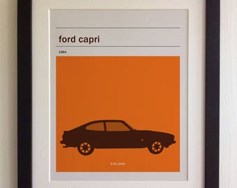 FRAMED Ford Capri Print - Black/White Frame, Birthday, Anniversary, Father's Day, Christmas, Fab Picture Gift