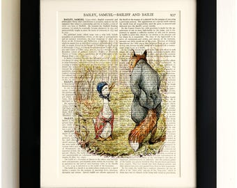 FRAMED ART PRINT on old antique book page - Beatrix Potter, The Tale of Jemima Puddle-duck, Vintage Wall Art Print Encyclopaedia Dictionary