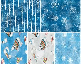 Snowy Friends By Wilmington Prints 5 PIECE Fat Quarter Bundle Winter Fabric