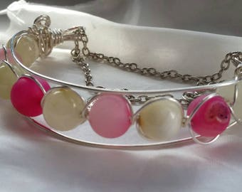 Wire Wrapped, Half Cuff Bracelet with Pink Druzy and Honey Jade Beads