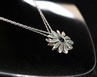 Vintage Sterling Silver - Black Onyx Flower Necklace