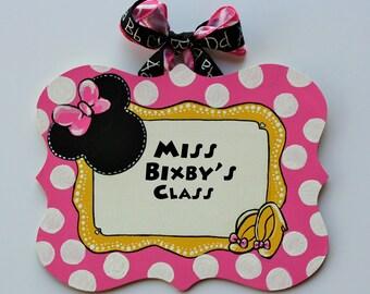 Mickey's World Teacher Sign -- Minnie Mouse