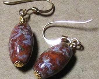 Vintage Rusty Ocean Jasper Bead Dangle Earrings 14k Gold Filled