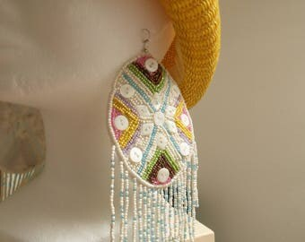 Giant earrings! Broderis beads and buttons