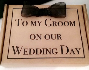Groom Gift Box - Husband to be Wedding Morning Present - Personalise with your own message - Fill yourself. Best man, Usher Gift Box