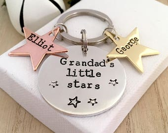 Grandad Keyring, Custom Keychain for Grandad, Grandad Gift, Little Stars,  Keyring, Gifts for Grandad, Fathers Day Gift, Grandad Keychain