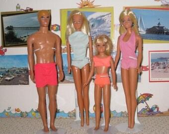 1970s Mattel Malibu Barbie, Ken, Skipper and PJ Dolls