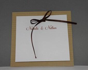 Natural wavy frame wedding invitation