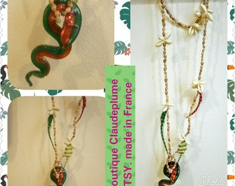 Shells feathers glass snake pendant necklace type murano