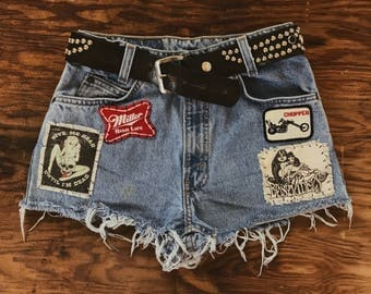 In The Breeze vintage patched up Levi's shorts