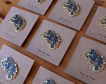 """Midnight ballet"""" elephant with gold butterflies  pin by Kisung Koh"""