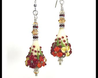 Deep red lampwork earrings, floral earrings, flower earrings, artisan lampwork earrings, dark red earrings, Red and gold jewelry