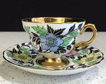 Rosina Cup and Saucer, Heavily Decorated, Gold Banded Tea Cup Made in England