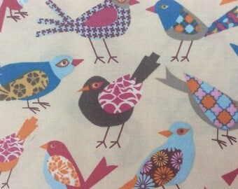 Multi-colored Bird Fabric