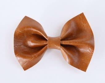 Cognac Faux Leather Hair Bow // Girls Hair Accessories // Baby Hair Accessories