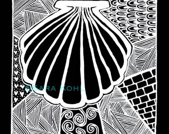 Shell Zentangle Print
