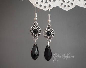 Long black earrings Black drop earrings Black crystal earrings Black dangle earrings silver hooks Tibetan silver Jewelry for women