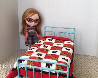Custom Ooak Quilt for Blythe or similar doll 1:6 scale Blanket Scotty Dog
