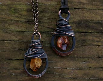 Citrine & Copper Wrap Necklace // Messy Wire Wrap Citrine Copper Pendant Necklace // Hammered Copper Citrine Pendant // Gifts for Her