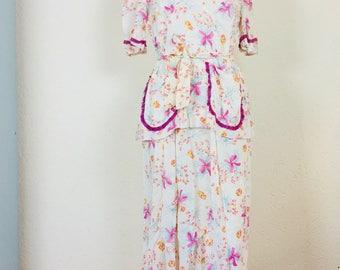 Cute vintage 60s floral bow dress| vintage dress | 60s dress | bowdress | size M/L |