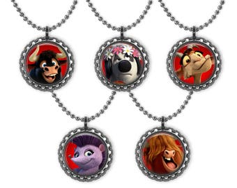 5 FERDINAND the Friendly Bull Movie 3D Bottle Cap Necklace Birthday Party Favors #1
