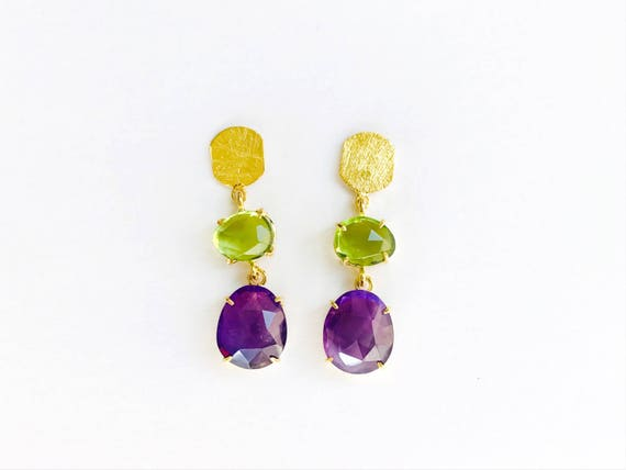Earrings in silver, amethyst and Peridots N9