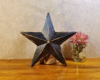Wood Star, Rustic Decor, Tree Topper, Beveled Barn Star, 12 Inch, Black, 10 Separately Cut Pieces, Wooden Amish Star, Cabin Decor