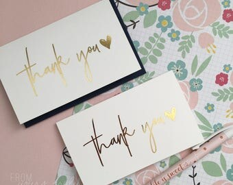 Gold Foil Greeting Card: Thank you (pk-1)