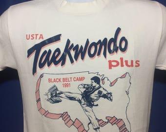 Vintage 1991 USTA Taekwondo black belt camp t shirt martial arts 90s *XS/S