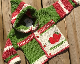 Crochet Baby Sweater, Strawberry Sweater, Girl Sweater - size 6-9 months