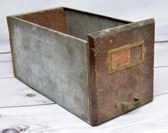 """Vintage Industrial Metal Drawer with Wooden Facet and Back 12"""" by 6"""""""