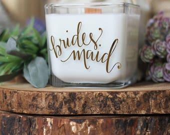 New Range  - Bridesmaid Candle - Bridesmaid Gift - Bridesmaid Proposal Candle - Gold Wedding Party Candles.