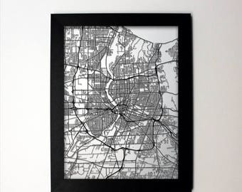 SUMMER SALE Rochester Map / Laser Cut Map / Rochester NY / Rochester Art / Rochester New York / Framed Map / Wedding Gift / Anniversary Gift