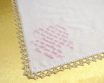 Grandmother Wedding Gift for Grandparents wedding handkerchief for Grandma Gift Grandma of the Bride Grandmother Grandfather Gift bride gift