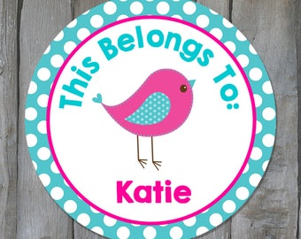 Personalized Back to School Name Stickers - Pink/Blue Bird Child Name Labels - School Supply Labels - Buy 3 Get 1 Free