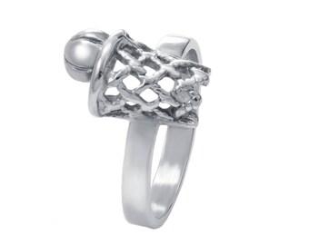 Basketball Silver Ring,  Basketball Jewelry, Basketball Player Gift, Hoop Ring