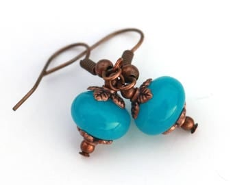 Tiny blue earrings, copper jewelry, gift for her
