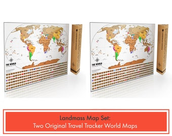 2 Scratch Off Travel Tracker World Maps - Set of two maps - Perfect gifts for travel lovers in White and Gold - World Map bundle -home decor