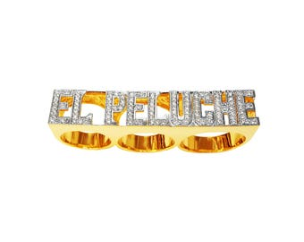 Lee093cz-10k Gold 14mm Three Finger Name Ring with Cubic Zirconia