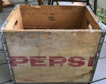 Vintage Pepsi-Cola Crate 1970s Pepsi Wood Crate Pepsi Advertising Old Wood Pepsi Crate Springfield Maryland Vintage Wood Box Collectible