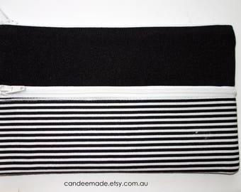 Cute Striped Pencil Case/ Makeup Bag 19cm x 11.5cm With Two Pockets