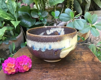 Japanese Brown Glazed Abstract Matcha Chawan Tea Bowl Signed