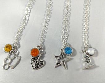 The Adventure Zone Commitment Inspired Mini Jewel & Charm Necklaces - Irene, Kardala, Remy, Nadiya