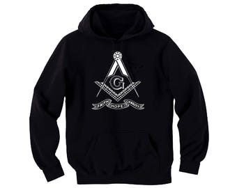 Masonic Freemasons Square,Compasses Faith Hope Charity black hoodie