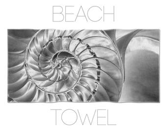 Nautilus Beach Towel, Black And White, Photo Towels, Black Beach Towels, Beach Accessories, Hotel Towels, Nautical Beach Towel, Macro Photo