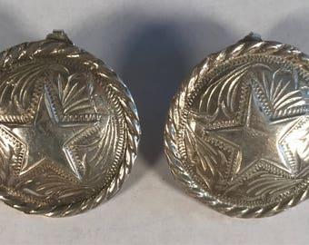 Western themed star concho sterling silver earrings