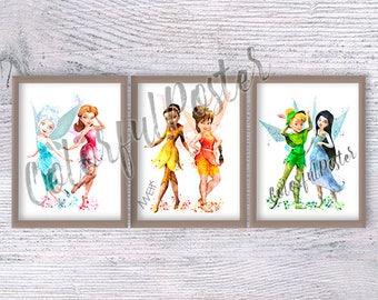 Disney fairies poster Set of 3 Tinker Bell art print Fawn watercolor poster Periwinkle Disney fairy Nursery decor Girls room wall art V261