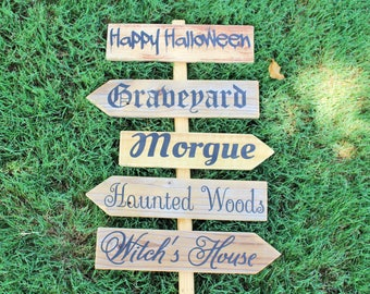 Outdoor Halloween Decoration- Happy Halloween Collection, Outdoor Fall Sign, Cursive Sign, Rustic Outdoor Sign, Graveyard, Witch's House