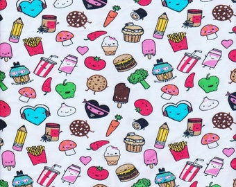 Feel a Good Snacks Food  David and Goliath Cotton Jersey KNit Fabric